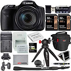 Canon PowerShot SX540 HS Camera with 2 Lexar 32GB Memory Card, Table-Tripod, Camera Bag, Memory Card Reader/Writer, and Spare Battery