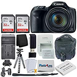 Canon PowerShot SX540 HS Digital Camera 50x Optical Zoom- Wi-Fi + 64GB Memory Card + Camera Bag + Flexible Tripod + Replacement Battery and Travel Charger + USB Card Reader + Screen Protectors + More