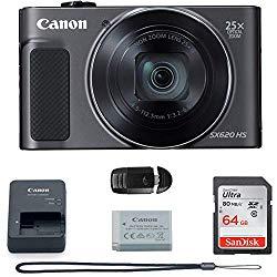 Canon PowerShot SX620 Digital Camera w/25x Optical Zoom – Wi-Fi & NFC Enabled (Black) – Memory Card Bundle (Camera + 64GB Memory Card) Basic Bundle