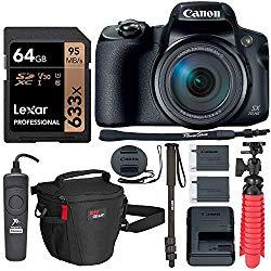 Canon PowerShot SX70 HS 4K Camera with Video-Ready Lexar U3 Memory Card, Monopod, Tripod, Camera Case and Accessory Bundle