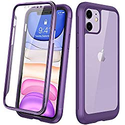 DIACLARA iPhone 11 Case, Full Body Rugged Case with Built-in Touch Sensitive Anti-Scratch Screen Protector, Soft TPU Bumper Case Cover Clear Designed for iPhone 11 6.1″ (Purple and Clear)