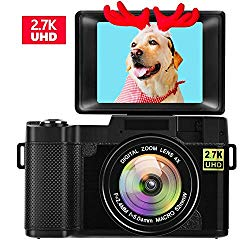 Digital Camera Vlogging Camera for Youtube 2.7K UHD 3.0 Inch 24MP Small Zoom Compact Camera with 180 Degree Rotation Flip Screen