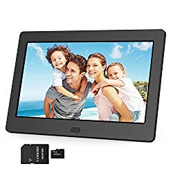 Digital Photo Frame 1280×800 16:9 IPS Screen Include 32GB SD Card HD Digital Picture Frame Widescreen, Support 1080P Videos, Photos Auto Rotate, Support Thumb USB Drive, SD/MMC/MS Card(7 Inch Black)
