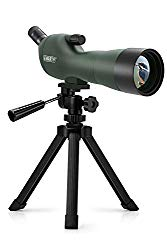Emarth 20-60x60AE Waterproof Angled Spotting Scope with Tripod, 45-Degree Angled Eyepiece, Optics Zoom 39-19m/1000m for Target Shooting Bird Watching Hunting Wildlife Scenery (20-60×60) Green