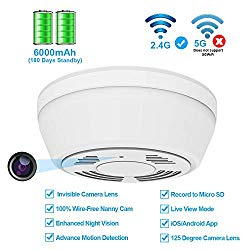 Hidden Camera WiFi Smoke Detector,FUVISION Nanny Cameras and Hidden Camera with 180 Days Battery Power,Remote Internet Access,Night Vision,SD Card Slot,Bottom View Hidden Security Camera for Home