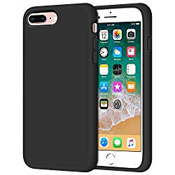 iPhone 8 Plus Case, iPhone 7 Plus Case, Anuck Soft Silicone Gel Rubber Bumper Case Microfiber Lining Hard Shell Shockproof Full-Body Protective Case Cover for iPhone 7 Plus /8 Plus 5.5″ – T Black