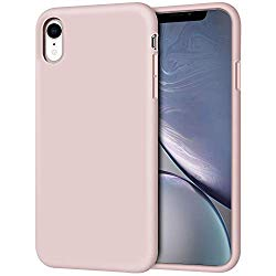 iPhone XR Case, Anuck Soft Silicone Gel Rubber Bumper Phone Case with Anti-Scratch Microfiber Lining Hard Shell Shockproof Full-Body Protective Case Cover for Apple iPhone XR 6.1″ 2018 – Pink Sand
