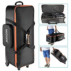 Neewer Photo Studio Equipment Trolley Carry Bag 38″x15″x11″/96x39x29cm with Straps Padded Compartment Wheel, Handle for Light Stand, Tripod, Strobe Light, Umbrella, Photo Studio and Other Accessories