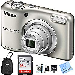Nikon COOLPIX A10 Digital Camera 16.1MP 5X Zoom NIKKOR Glass Lens – Silver with 16GB Memory Card All Weather Sport Case Bundle (Renewed)