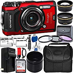 Olympus Tough TG-6 Digital Camera with Deluxe Accessory Bundle – Includes: SanDisk Ultra 64GB SDXC Memory Card + 2X Seller's Replacement Batteries with Charger + Adapter Tube + Much More