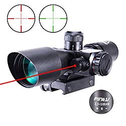Pinty 2.5-10×40 Red Green Illuminated Mil-dot Tactical Rifle Scope with Red Laser Combo – Green Lens Color