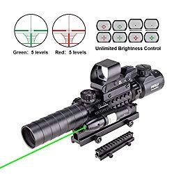 Pinty Rifle Scope 3-9×32 Rangefinder Illuminated Reflex Sight 4 Reticle Green Dot Laser Sight