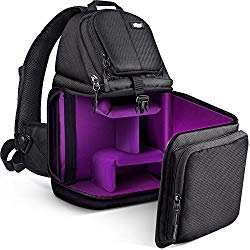 Qipi Camera Bag – Sling Bag Style Camera Case Backpack with Modular Inserts & Waterproof Rain Cover – for DSLR & Mirrorless Cameras (Nikon, Canon, Sony) – Black