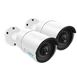 Reolink 5MP PoE Camera (Pack of 2) Outdoor Indoor Video Surveillance Work with Google Assistant, IP Security IR Night Vision Motion Detection Audio Support SD Card Slot RLC-410-5MP