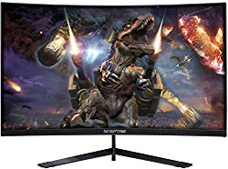 Sceptre 24″ Curved 144Hz Gaming LED Monitor Edge-Less AMD FreeSync DisplayPort HDMI, Machine Black (C248B-144RN)