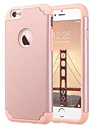 ULAK iPhone 6S Case, iPhone 6 Case, Slim Fit Dual Layer Soft Silicone & Hard Back Cover Bumper Protective Shock-Absorption & Anti-Scratch Case for Apple iPhone 6 / 6S 4.7 inch- Rose Gold