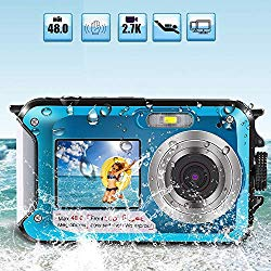 Underwater Camera for Snorkeling, Waterproof 2.7K 48MP Digital Camera, HD Rechargeable Camera with Dual Screen for Camping, Underwater, Swiming, Underwater Camera for Kids Teenagers