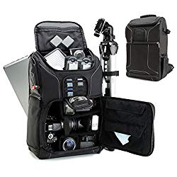 USA GEAR DSLR Camera Backpack Case (Black) – 15.6 inch Laptop Compartment, Padded Custom Dividers, Tripod Holder, Rain Cover, Long-Lasting Durability and Storage Pockets – Compatible with Many DSLRs