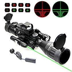 UUQ 4-16×50 AO Rifle Scope Red/Green Illuminated Range Finder Reticle W/Green Laser – Holographic Reflex Red Dot Sight – 5 Brightness Modes Flashlight