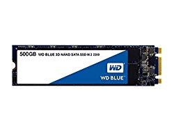 WD Blue 3D NAND 500GB Internal PC SSD – SATA III 6 Gb/s, M.2 2280, Up to 560 MB/s – WDS500G2B0B