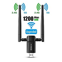 Wireless USB WiFi Adapter for PC – 802.11AC 1200Mbps Dual 5Dbi Antennas 5G/2.4G WiFi USB for PC Desktop Laptop MAC Windows 10/8/8.1/7/Vista/XP/Mac10.6/10.13, WiFi USB Computer Network Adapters