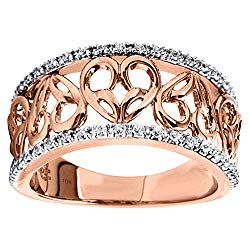 10K Rose Gold 1/6cttw Diamond Heart Ring