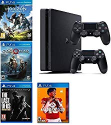 2019 Playstation 4 Slim PS4 1TB Console + Two Dualshock-4 Wireless Controllers (Jet Black) + 4 Games (Madden NFL 20, The Last of US, etc) Bundle