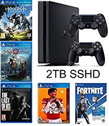 2019 Playstation 4 Slim PS4 2TB SSHD Console + Two Dualshock-4 Wireless Controllers + (Madden NFL 20, The Last of US, etc, Fortnite) Bundle
