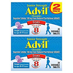 Advil Junior Strength Chewables (24 Tablets, Grape Flavor), 100mg Ibuprofen, Fever Reducer/Pain Reducer, Ages 2-11, Pack of 2