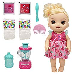 Baby Alive Magical Mixer Baby Doll Strawberry Shake with Blender Accessories, Drinks, Wets, Eats, Blonde Hair Toy for Kids Ages 3 and Up