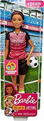 Barbie Athlete Doll, Brunette Soccer Player Doll Wearing Uniform and Socks with Soccer Ball, for 3 to 7 Year Olds