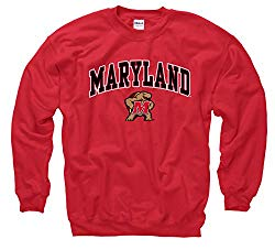 Campus Colors NCAA Adult Arch & Logo Gameday Crewneck Sweatshirt (Maryland Terrapins – Red, Large)