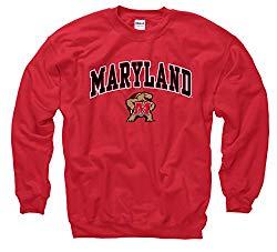 Campus Colors NCAA Adult Arch & Logo Gameday Crewneck Sweatshirt (Maryland Terrapins – Red, Medium)