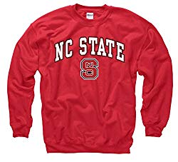 Campus Colors NCAA Adult Arch & Logo Gameday Crewneck Sweatshirt (NC State Wolfpack – Red, Large)
