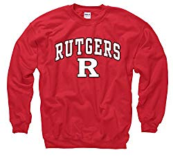 Campus Colors NCAA Adult Arch & Logo Gameday Crewneck Sweatshirt (Rutgers Scarlet Knights – Red, Large)