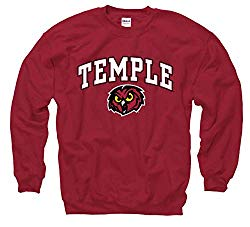 Campus Colors NCAA Adult Arch & Logo Gameday Crewneck Sweatshirt (Temple Owls – Maroon, X-Large)