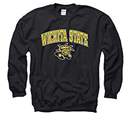 Campus Colors NCAA Adult Arch & Logo Gameday Crewneck Sweatshirt (Wichita State Shockers – Black, Medium)