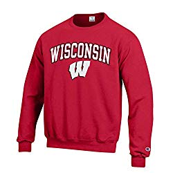 Campus Colors NCAA Adult Arch & Logo Gameday Crewneck Sweatshirt (Wisconsin Badgers – Red, Small)