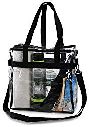 Clear Tote Bag NFL Stadium Approved – Shoulder Straps and Zippered Top. Perfect Clear Bag for Work, School, Sports Games and Concerts. Meets NFL and PGA Tournament Guidelines. (12 x 12 x 6 Inches)