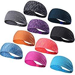 DASUTA Set of 10 Women's Yoga Sport Athletic Headband for Running Sports Travel Fitness Elastic Wicking Workout Non Slip Lightweight Multi Headbands Headscarf fits All Men and Women