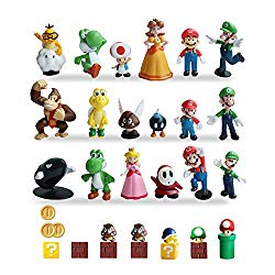 HXDZFX 32 PCS Super Mario Action Figures,Super Mario Bros Figurines,Luigi,Yoshi,Peach Princess,Daisy Princess,Coin,Brick,Perfect Mario Cake Topper Decorations (Super Mario Action Figures)