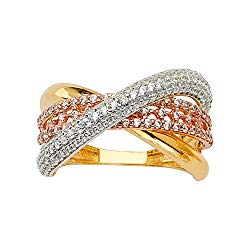 Ioka -14K Solid Tri Color Gold CZ Fancy Stylish Women's Ring