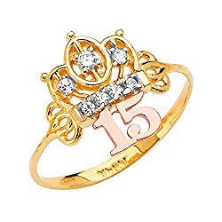 Ioka -14K Solid Tri Color Gold Sweet 15 Anos 15 Years Birthday QuinceaneraCZ Princess Crown OR Tiara Ring