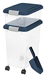 IRIS USA 3 Piece Airtight Pet Food Storage Container Combo, Navy Blue MP-8/MP-1/SCP-2