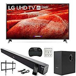 LG 86UM8070PUA 86″ 4K HDR LED TV (2019) AI ThinQ with Deco Gear Soundbar Bundle