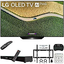 LG OLED65B9PUA B9 65″ 4K HDR Smart OLED TV with AI ThinQ (2019) Bundle with Deco Gear Home Theater Soundbar, Flat Wall Mount Kit, Wireless Keyboard and 6-Outlet Surge Adapter with Night Light