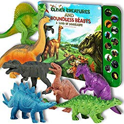 Li'l Gen Dinosaur Toys for Boys and Girls 3 Years Old & Up – Realistic Looking 7″ Dinosaurs, Pack of 12 Animal Dinosaur Figures with Dinosaur Sound Book (Dinosaur Set with Sound Book)