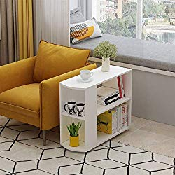Modern End Table, 2-Tier White Side Table Chair Side Table Beside Cabinet with Storage Shelf Bookshelf 2 Shelves for Living Room Bedroom Office Closet, Bedroom, Entryway, Coffee with 4 Wheels