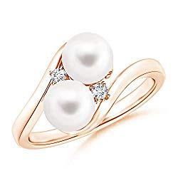 President's Day Sale – Double Freshwater Pearl Ring with Diamond Accents (6mm Freshwater Cultured Pearl)