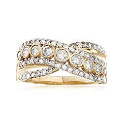 Ross-Simons 1.00 ct. t.w. Bezel-Set Diamond Sash Ring in 14kt Yellow Gold